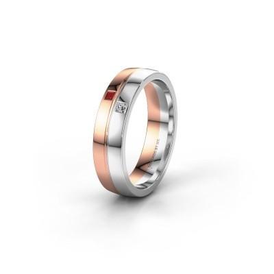 Trouwring WH0231L25BP 585 rosé goud robijn ±5x2 mm