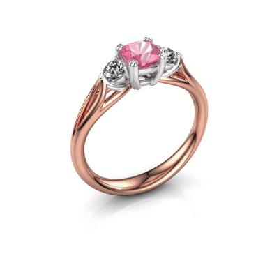 Verlovingsring Amie cus 585 rosé goud roze saffier 5 mm