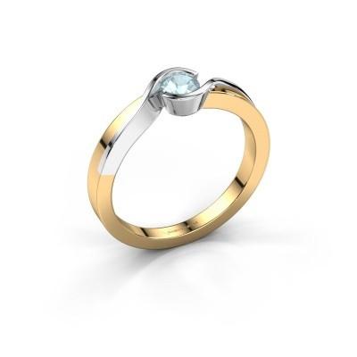 Foto van Ring Lola 585 goud aquamarijn 4 mm