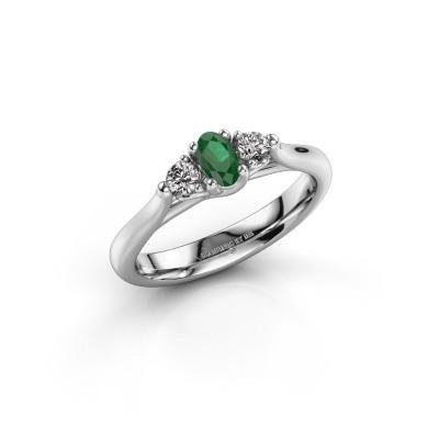 Foto van Verlovingsring Jente OVL 585 witgoud smaragd 5x3 mm