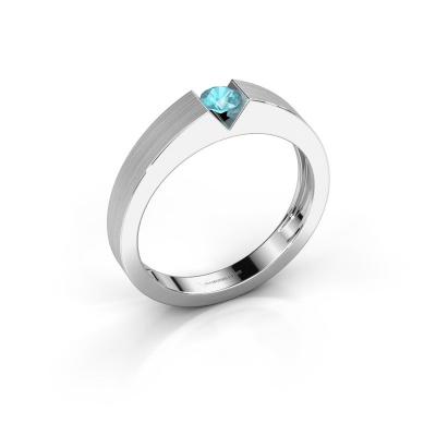 Verlovingsring Lizzy 1 950 platina blauw topaas 3.7 mm