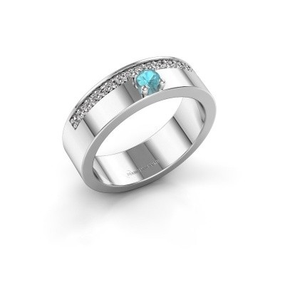 Ring Vicki 585 witgoud blauw topaas 3 mm