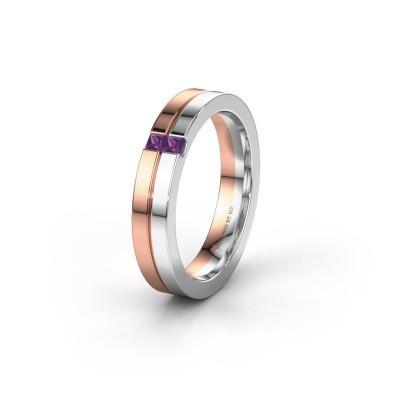 Wedding ring WH0225L14B 585 rose gold amethyst ±0.16x0.08 in