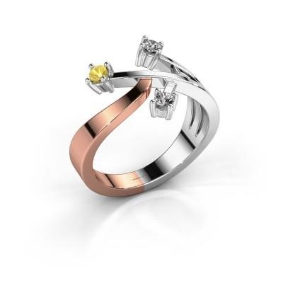 Ring Lillian 585 rosé goud gele saffier 2.5 mm