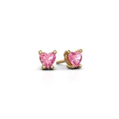 Foto van Oorbellen Sam Heart 375 goud roze saffier 5 mm