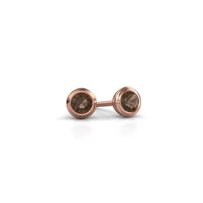 Picture of Stud earrings Shemika 375 rose gold smokey quartz 3.4 mm