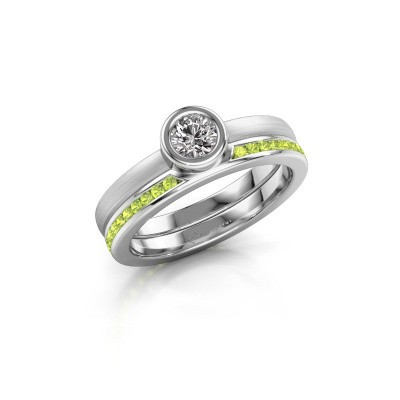 Picture of Ring Cara 950 platinum peridot 4 mm