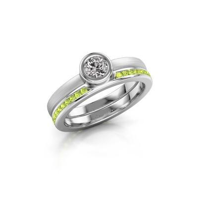 Ring Cara 950 platina peridoot 4 mm
