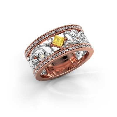 Ring Danae 585 rosé goud gele saffier 3 mm