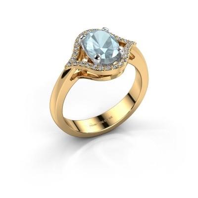 Ring Mendy 585 goud aquamarijn 8x6 mm