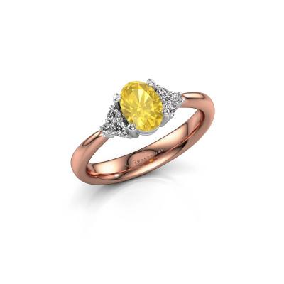 Foto van Verlovingsring Aleida OVL 1 585 rosé goud gele saffier 7x5 mm