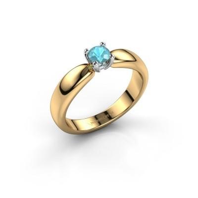 Promise ring Katrijn 585 goud blauw topaas 4.2 mm