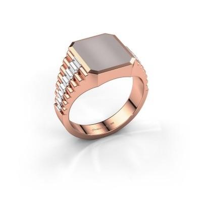 Foto van Rolex stijl ring Brent 2 585 rosé goud rode lagensteen 12x10 mm