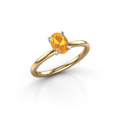 Foto van Verlovingsring Crystal OVL 1 585 goud citrien 7x5 mm