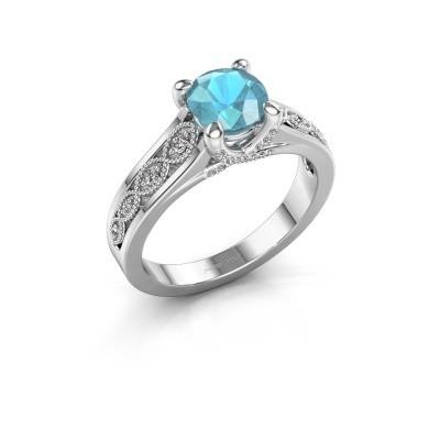 Engagement ring Clarine 585 white gold blue topaz 6.5 mm