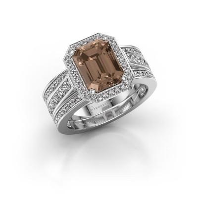 Foto van Ring Dodie 3 585 witgoud bruine diamant 3.49 crt