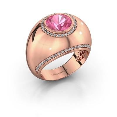 Ring Roxann 375 rosé goud roze saffier 8 mm