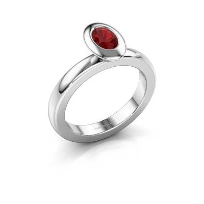 Stacking ring Trudy Oval 925 silver ruby 6x4 mm