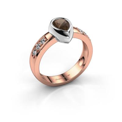 Ring Charlotte Pear 585 rose gold smokey quartz 8x5 mm