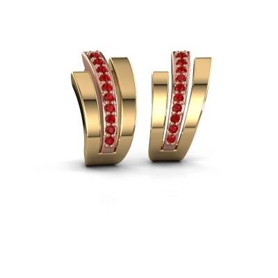 Foto van Oorbellen Emeline 585 rosé goud robijn 1.1 mm