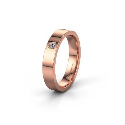 Trouwring WH0101L14APSQ 375 rosé goud diamant ±4x1.7 mm