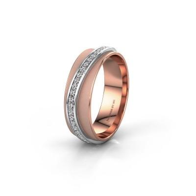 Huwelijksring WH2126L 585 rosé goud diamant ±6x1.7 mm