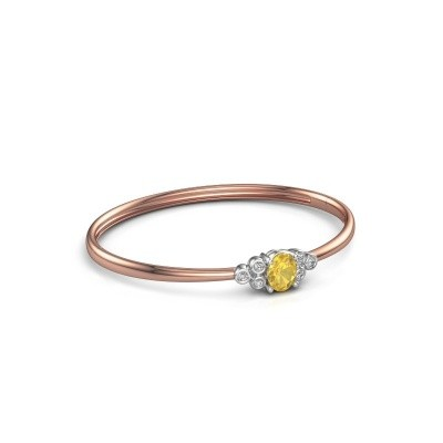 Foto van Slavenarmband Lucy 585 rosé goud gele saffier 8x6 mm
