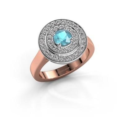 Foto van Ring Alecia 1 585 rosé goud blauw topaas 5 mm