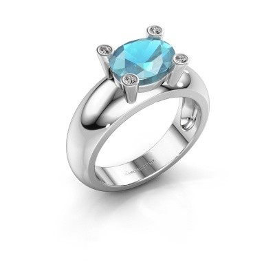 Ring Tamara OVL 925 zilver blauw topaas 9x7 mm