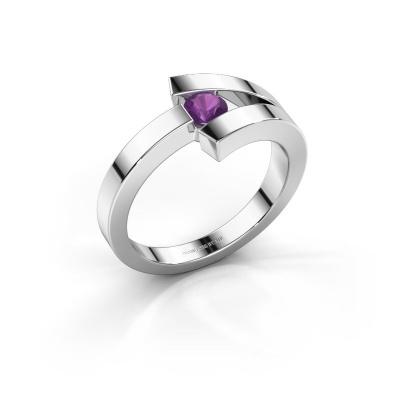Ring Sofia 585 white gold amethyst 3.7 mm