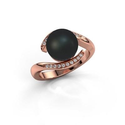 Foto van Ring Dedra 375 rosé goud zwarte parel 9 mm