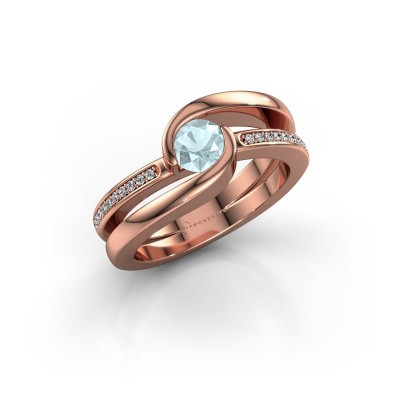 Picture of Ring Xenia 2 375 rose gold aquamarine 5 mm