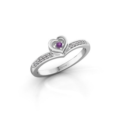 Ring Mimi 950 platina amethist 2 mm
