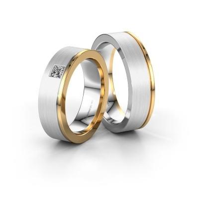 Trouwringen set WH0550LM16CMP ±6x2.2 mm 14 karaat witgoud diamant 0.17 crt