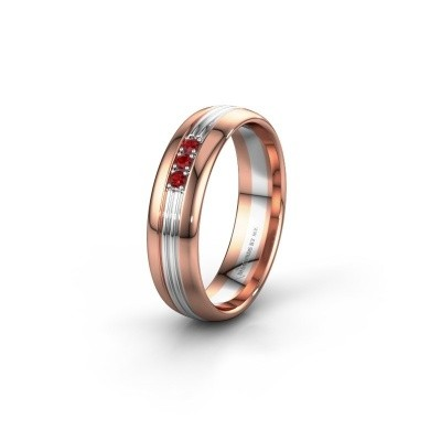 Wedding ring WH0405L35X 585 rose gold ruby ±0.20x0.06 in