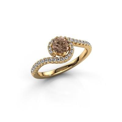 Bague de fiançailles Elli 375 or jaune diamant brun 0.752 crt