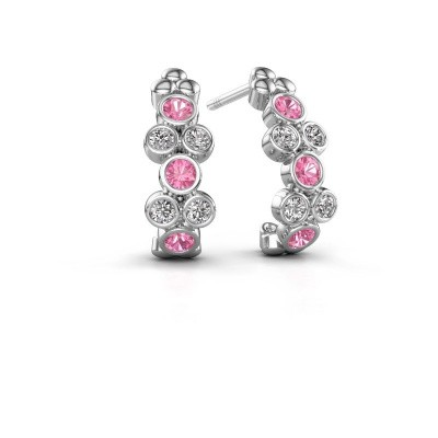 Earrings Kayleigh 585 white gold pink sapphire 2.4 mm