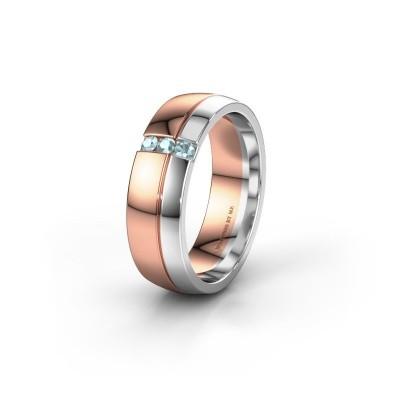 Trouwring WH0223L56A 585 rosé goud aquamarijn ±6x1.7 mm