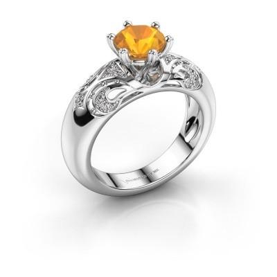 Ring Maya 585 Weißgold Citrin 6.5 mm