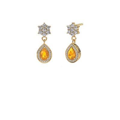 Drop earrings Era 375 gold citrin 6x4 mm