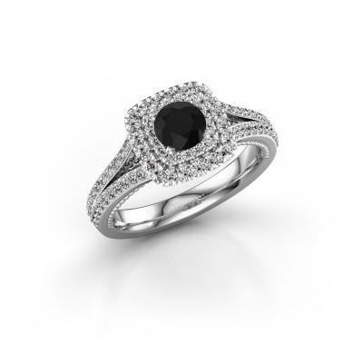 Foto van Verlovingsring Annette 585 witgoud zwarte diamant 1.172 crt