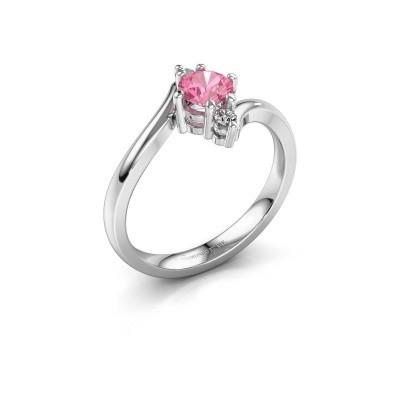 Foto van Verlovingsring Genna 585 witgoud roze saffier 5 mm