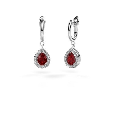 Picture of Drop earrings Ginger 1 925 silver ruby 7x5 mm