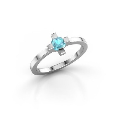 Ring Therese 585 witgoud blauw topaas 4.2 mm
