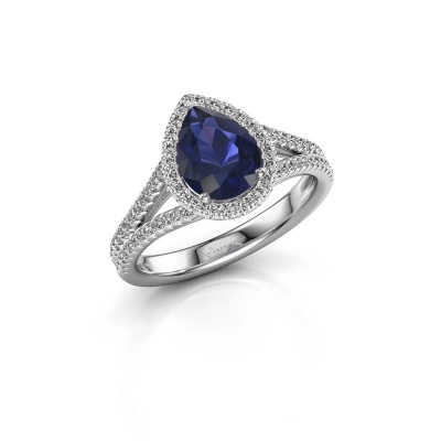 Picture of Engagement ring Verla pear 2 585 white gold sapphire 8x6 mm