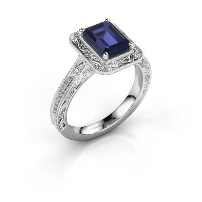 Verlovings ring Alice EME 925 zilver saffier 7x5 mm