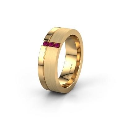 Trouwring WH0327L16B 585 goud rhodoliet ±6x2 mm