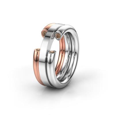 Ehering WH6018L 585 Weißgold Braun Diamant ±8x3 mm