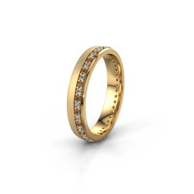 Trouwring WH0303L24AM 585 goud bruine diamant ±4x1.7 mm