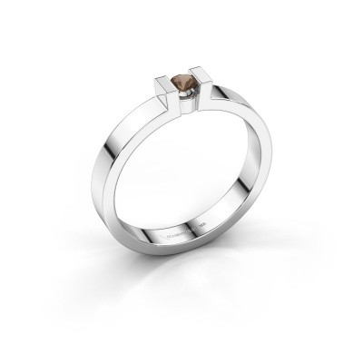 Verlovingsring Lieve 1 925 zilver rookkwarts 3 mm
